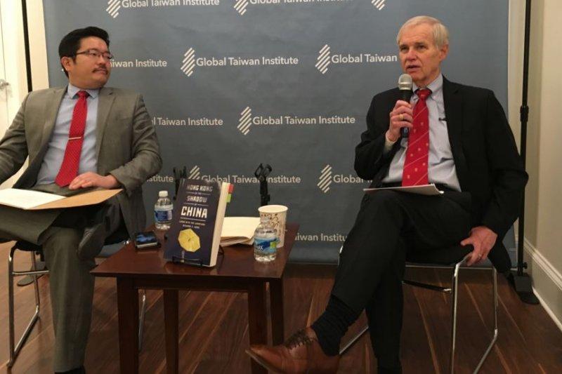 全球台灣研究所討論卜睿哲新書《中國陰影下的香港》。 (美國之音)