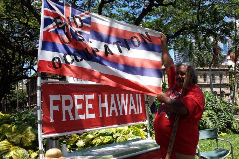 夏威夏威夷國王生日經典遊行,夏威夷要求獨立的攤位。(夏威夷中國日報提供)