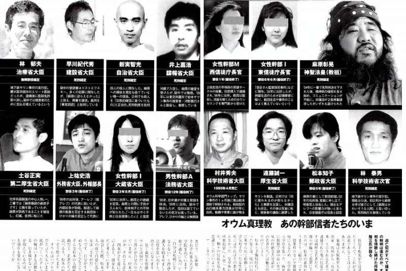 日本媒體揭露的奧姆真理教教祖與「大臣」名單。