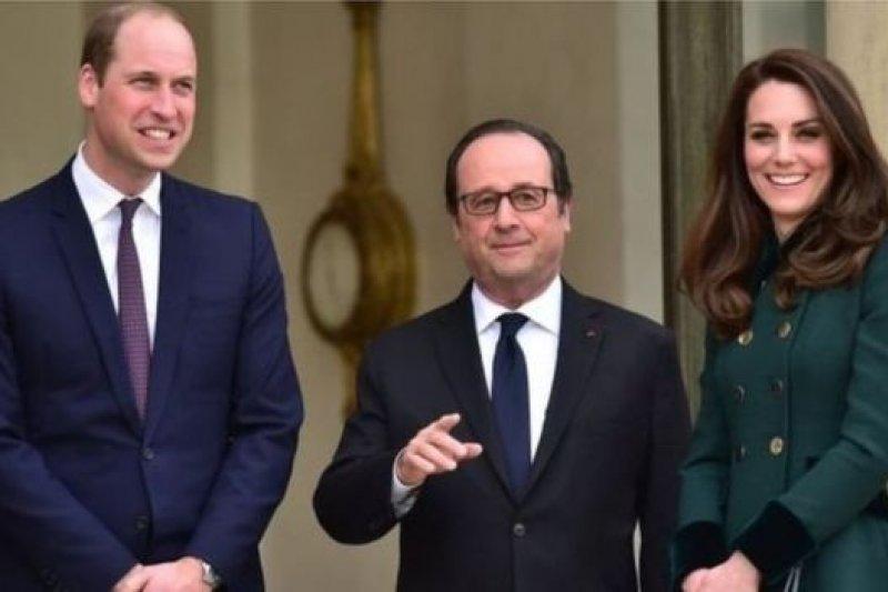 威廉王子夫婦在香榭麗舍與法國總統奧朗德會面。(BBC中文網)