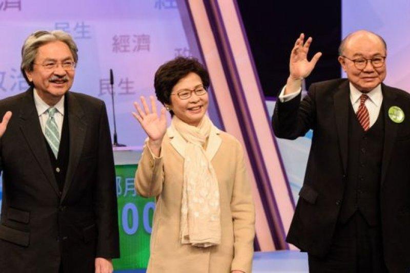 三名特首候選人同場出席選舉論壇時針鋒相對。(圖取自BBC中文網)