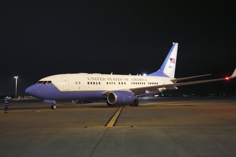 美國國務卿提勒森出訪亞洲搭乘的專機(AP)