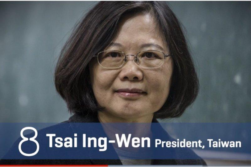 雜誌在介紹蔡英文時表示,去年底致電給川普消息曝光後,讓她躍上國際版面,「對台灣首位女總統且謹慎處理美中台關係的她來說,這是一項很大膽的舉動」。(取自youtube)