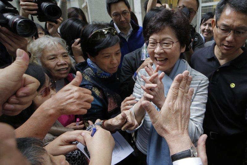 2017香港特首選舉,林鄭月娥被視為是低民望下當選。(AP)