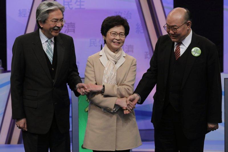 2017香港特首選舉,(左起)候選人曾俊華、林鄭月娥、胡國興(AP)