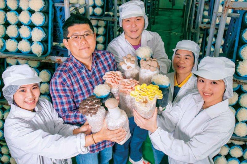 方世文(左2) 開發獨家菌種,商業化品種逾10 種,包含少見的粉紅玫瑰菇、杏香菇等獨家產品,還與亞洲大學合作量產香水銀耳。(攝影者.賴建宏)