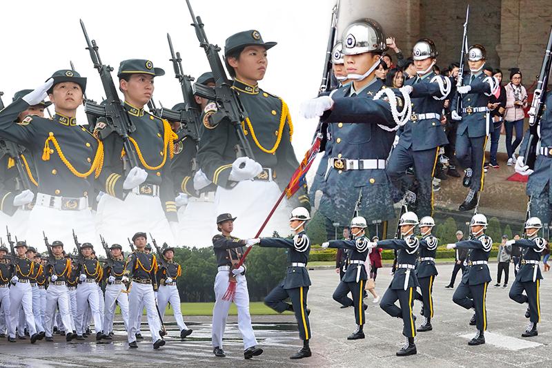 曾任國防部長的李傑就曾表示,「募兵募來的女生比男生多,男女的比例應先框列…不能男的募不到都募女的。」圖為陸軍官校女兵連(左)與陸軍儀隊(右)。 (資料照,顏麟宇、盧逸峰攝/影像合成:風傳媒)
