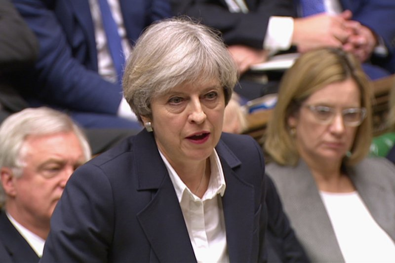 英國首相梅伊啟動《里斯本條約》第50條後向國會報告(AP)