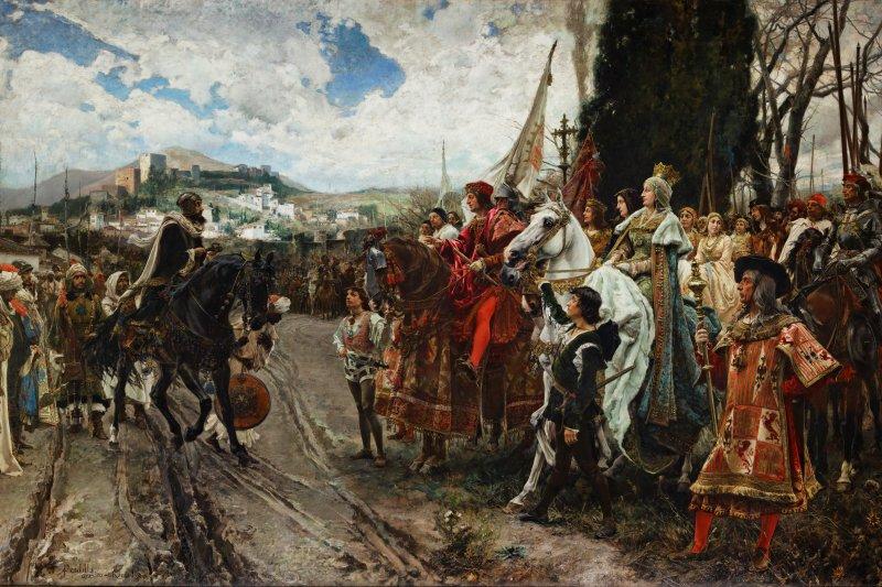 西班牙軍隊攻克格拉納達,最後一任蘇丹默罕默德十二世投降。(維基百科公有領域)
