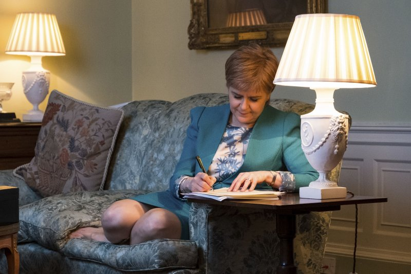 蘇格蘭首席部長史特金3月31日致函英國首相梅伊,正式要求啟動二次獨立公投(AP)