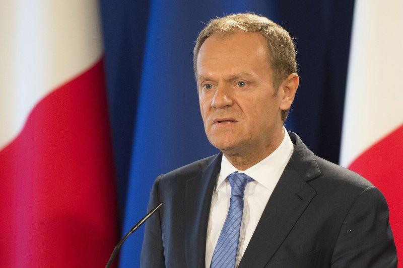 歐洲理事會主席圖斯克31日召開記者會,說明歐盟的談判準則。(美聯社)
