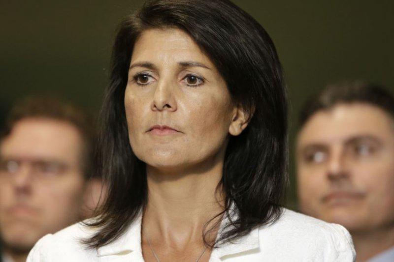 美國駐聯合國大使海莉在紐約聯合國總部的記者會上。(圖取自美國之音)