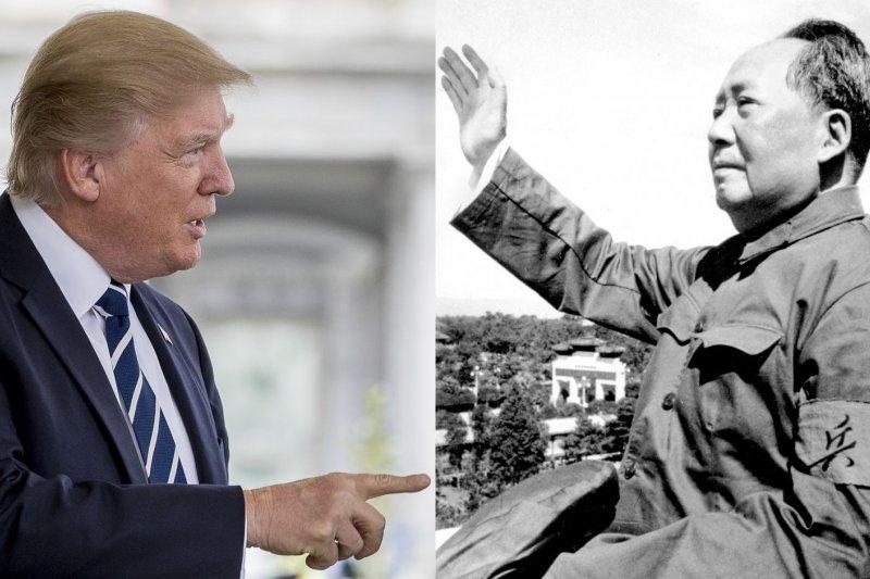 美國總統川普讓中國許多毛澤東信徒感到似曾相議(AP,風傳媒合成)