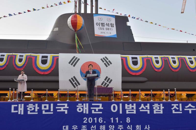 南韓第7艘孫元一級潛艦李範奭號去年11月8日在舉行下水典禮,由代理總統黃教安親自主持。(南韓國防部)