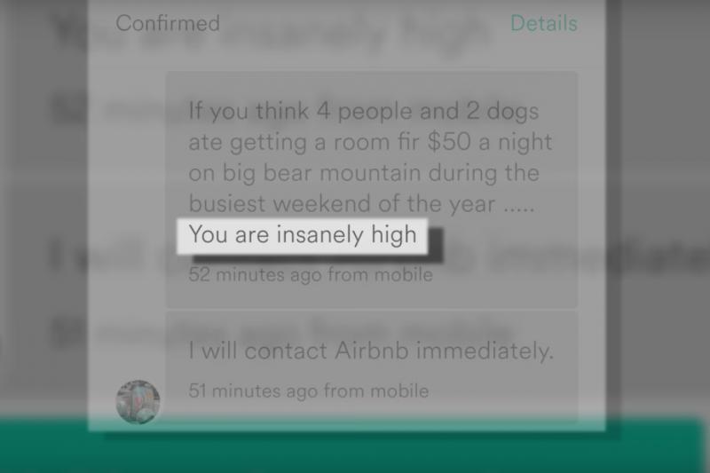 根據戴茵留存的螢幕截圖,房東先是這麼回覆:「你喝多了吧,四個人和兩條狗在旺季的大熊山度假,一晚怎麼可能只付50美元!」逕自取消了預約。(截圖自YouTube)