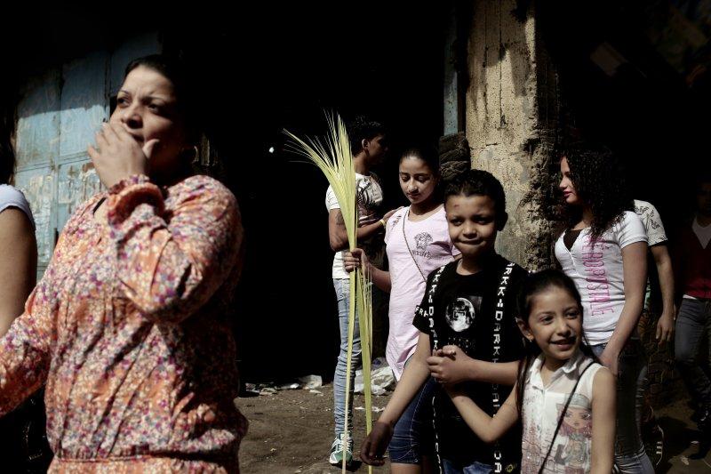 埃及信奉基督教的科普特人(Copts)9日慶祝「棕枝主日」(AP)