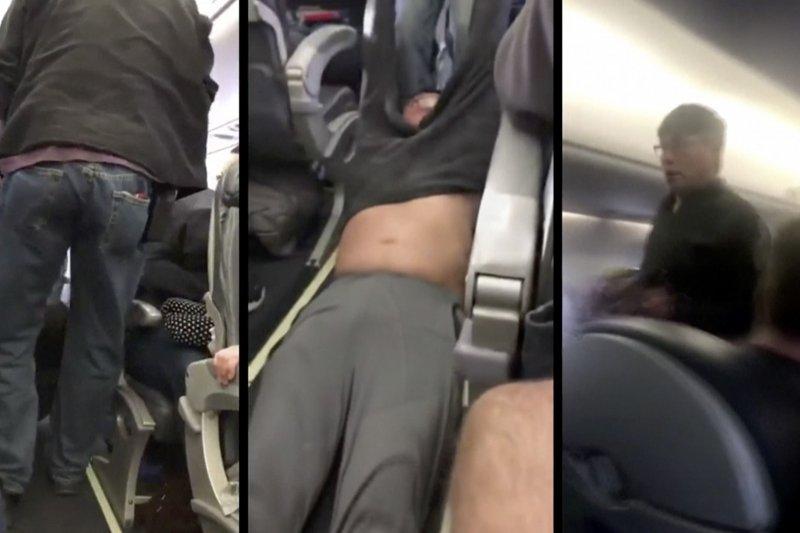 美國聯合航空9日晚間將一名69歲華裔乘客強行拖下機,過程中男子受傷,滿臉是血。(美聯社)