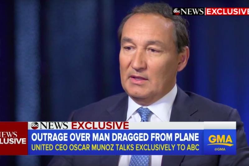 聯合航空執行長穆諾斯。(截圖自YouTube)