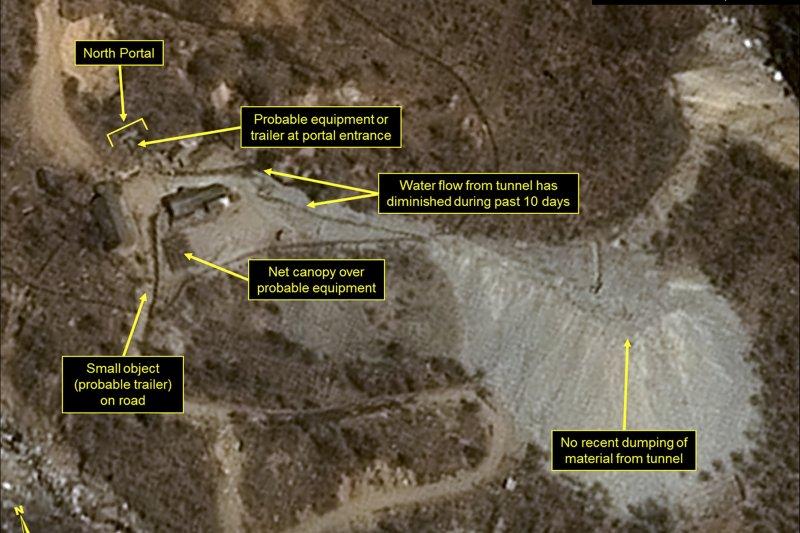 北韓可能在15日「太陽節」6度核試爆,圖為衛星拍到的豐溪里核爆試驗場(AP)