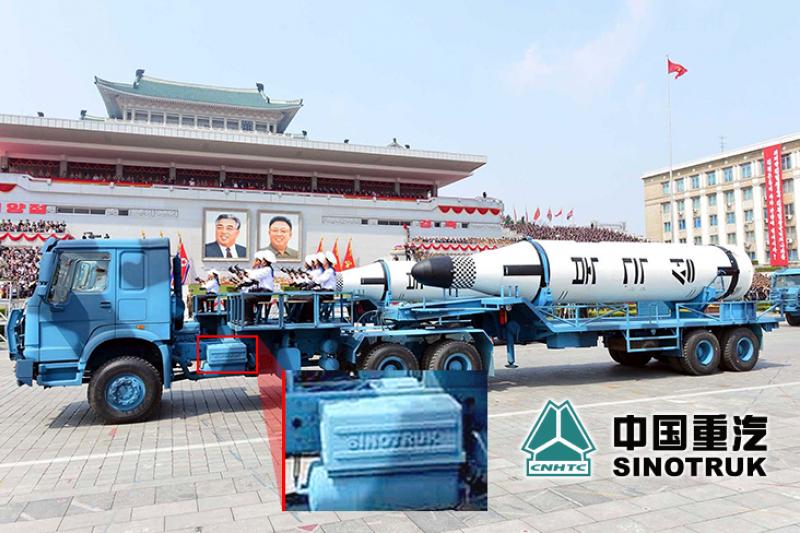 標示有SINOTRUK字樣的北韓飛彈牽引車。