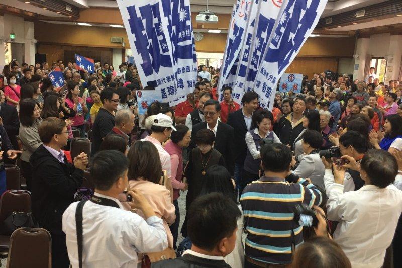 國民黨主席選戰激烈,候選人洪秀柱23日前往嘉義市參加造勢活動(洪秀柱辦公室)