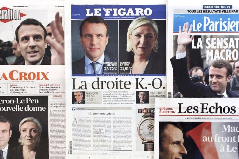 法國總統大選:法國主要報紙頭版報導首輪投票結果(AP)