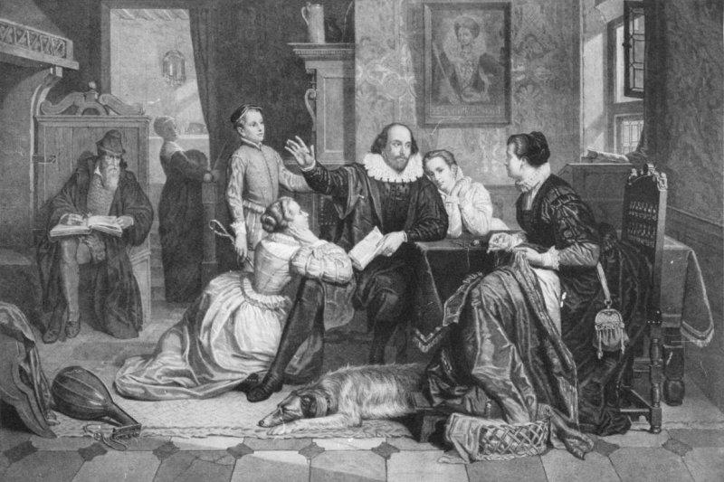 19世紀的版畫,這是對莎士比亞家庭生活的想像圖(Wikipedia/Public Domain)