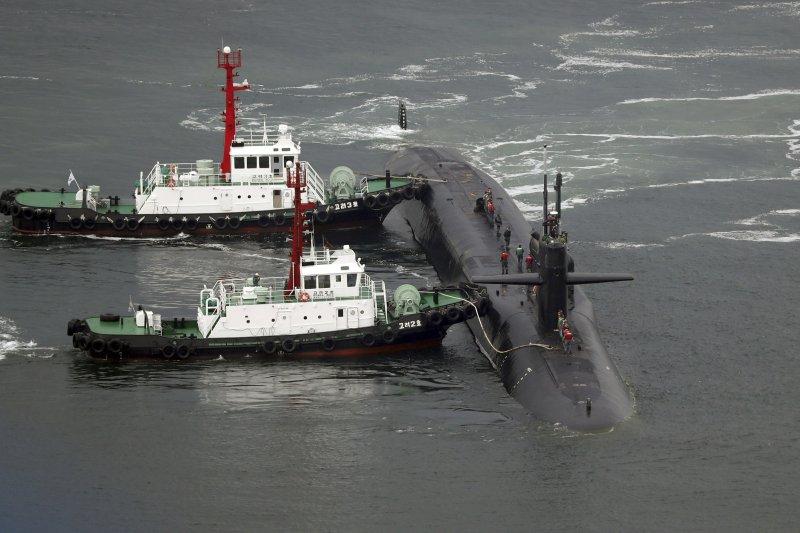 美軍第七艦隊的密西根號核動力潛艦。(美聯社)