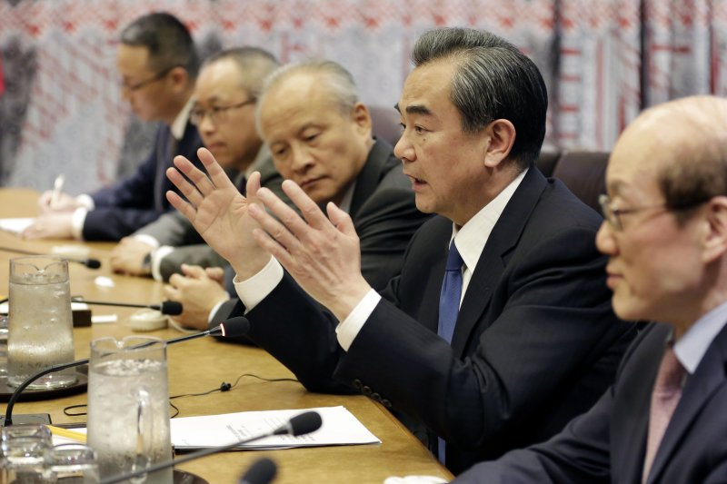 王毅在中美雙邊會議上,再次反對美軍在朝鮮半島動武。(美聯社)