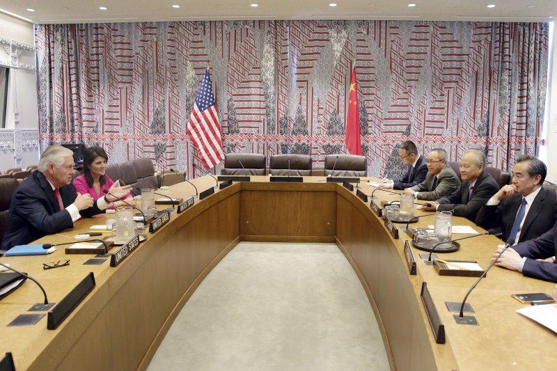 美中外長針對北韓核武問題28日在聯合國總部對談。(美聯社)