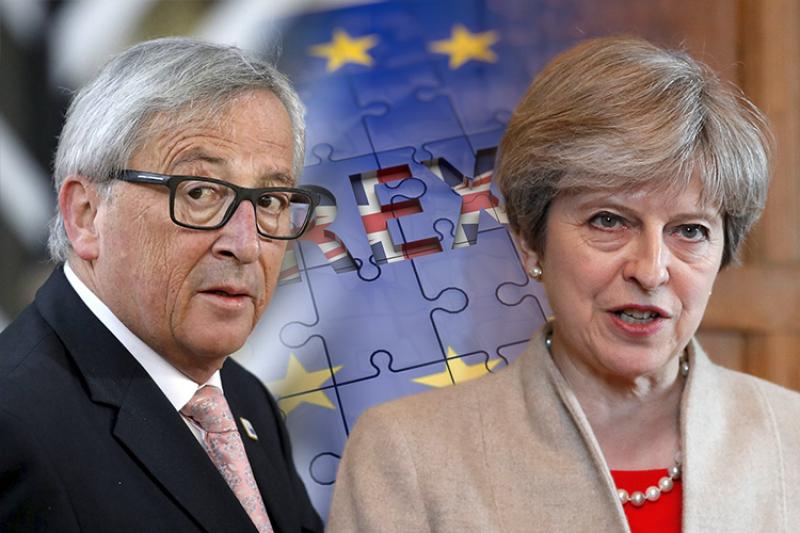 英國首相梅伊(右)表示,脫歐談判時,歐盟執委會主席容克(左)將發現她很難纏(照片:美聯社、Pixabay/合成:風傳媒)