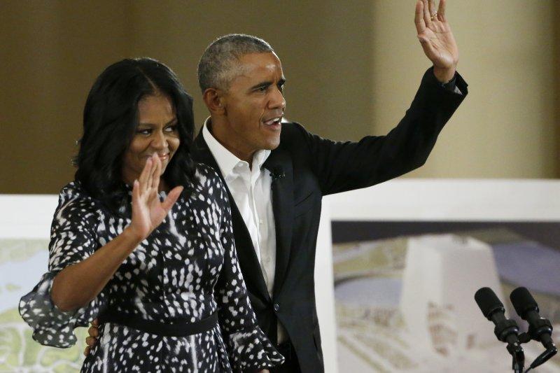 美國總統歐巴馬與妻子蜜雪兒2017年5月3日公布「歐巴馬總統中心」設計圖(AP)