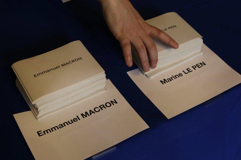 法國總統大選決選:印有馬克宏和勒潘名字的紙本選票(AP)