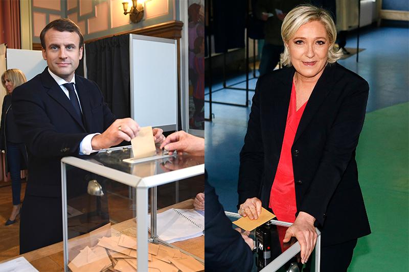 法國總統大選決選:馬克宏(左)與勒潘(右)(圖/美聯社,風傳媒後製)