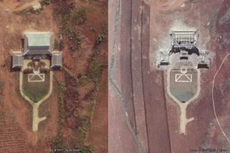 「北韓青瓦台」被砲擊摧毀前後的衛星照。