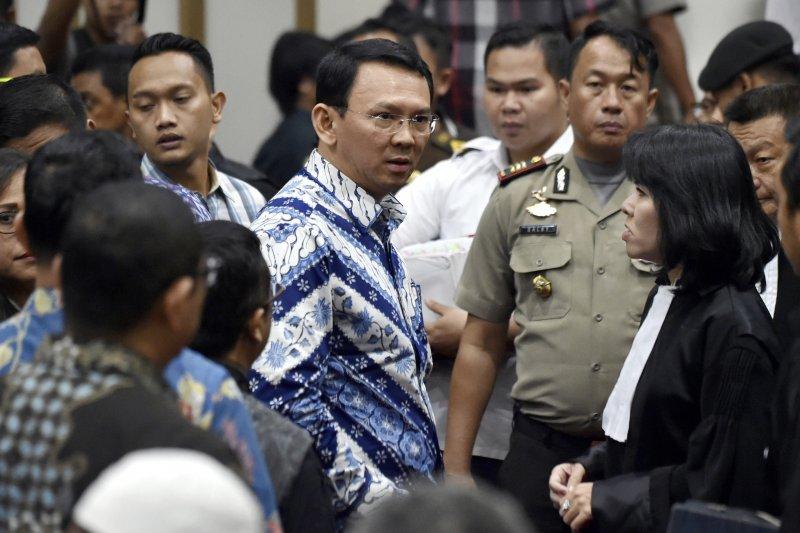 印尼雅加達華裔首長鍾萬學,因褻瀆宗教遭判刑2年。(美聯社)