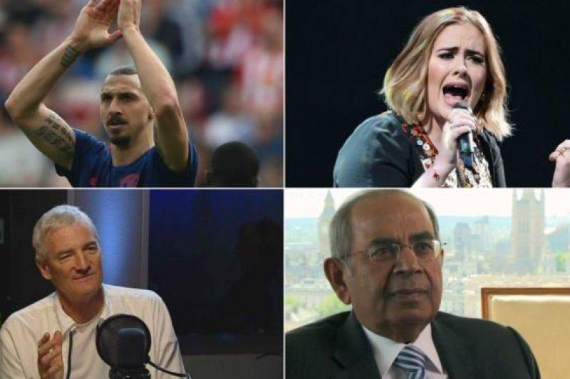 從左上角順時針方向:伊布拉希莫維奇今年新上榜,愛黛兒、欣杜賈與戴森的財富紛紛有所增長。(BBC中文網)