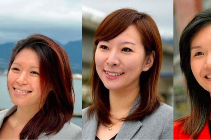 加拿大卑詩省大選,本屆5位台裔候選人參選,3位當選者,分別是北溫哥華蘭斯代爾選區馬博文(左)、本拿比洛歇區陳葦蓁(中)及本拿比鹿湖區康安禮(右)。(圖取自競選官網))
