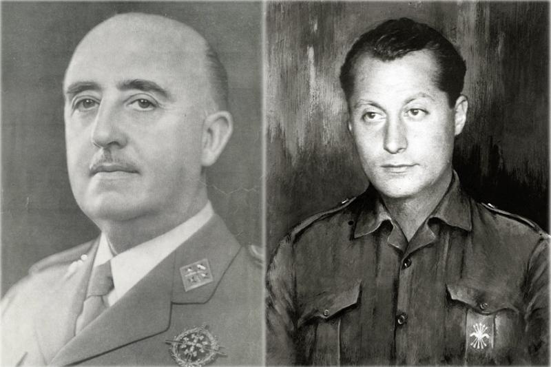 西班牙獨裁者佛朗哥(左)與長槍黨創始人德里維拉。(圖/Desconocido、Fondo MarínPascual Marín@wikipdedia)