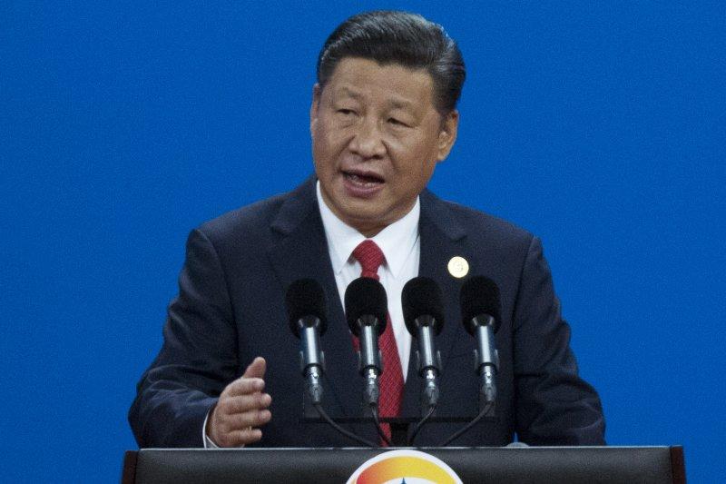 中國國家主席習近平在「一帶一路」高峰論壇的開幕典禮上致詞。(美聯社)