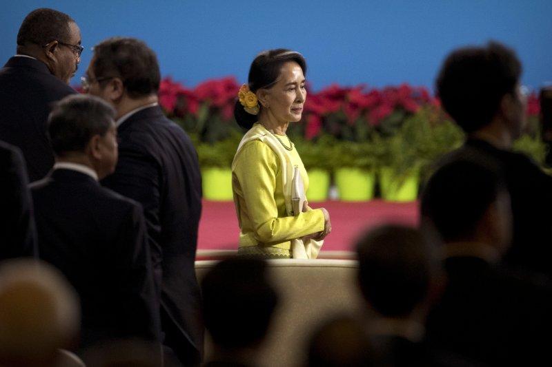 緬甸領導人翁山蘇姬也出席一帶一路高峰論壇。(美聯社)