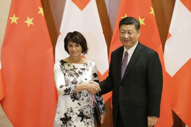 一帶一路高峰會:中國國家主席習近平夫婦與瑞士聯邦主席羅哈德(AP)