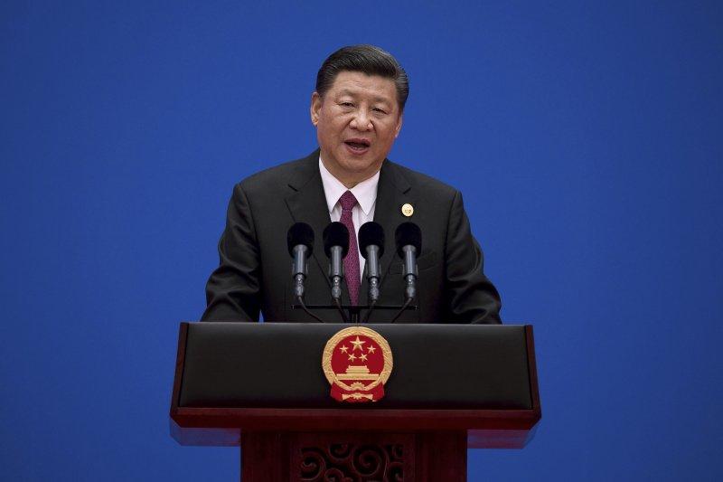 中國國家主席習近平於「一帶一路」高峰會閉幕式上致詞。(美聯社)