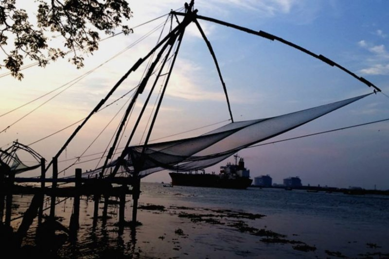 印度香料海岸邊的中國漁網。當地傳說,這是明朝鄭和船隊帶來的漁網。(美國之音)