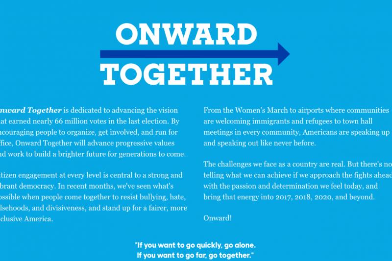 「團結前進」(Onwards Together)的任務說明。(取自https://www.onwardtogether.org/)