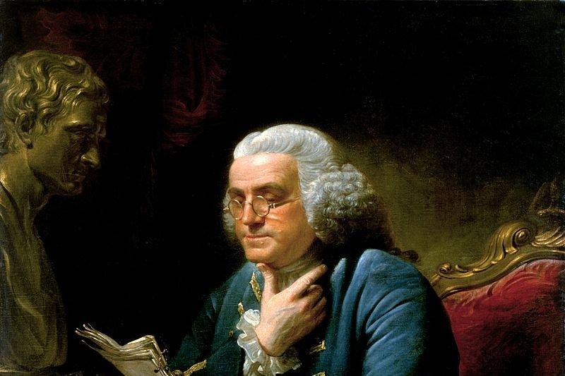 David Martin 畫的 「富蘭克林讀信肖像」, 現藏白宮。(來源:whitehousehistory /維基百科)