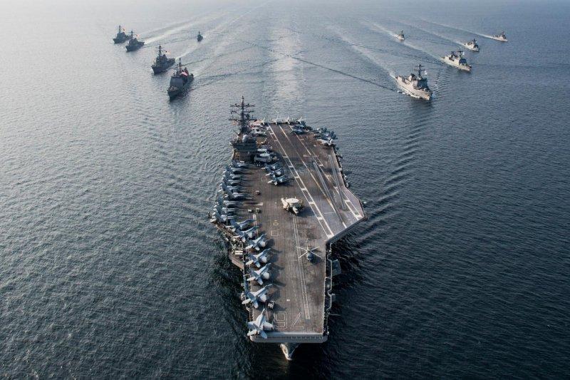 美國海軍雷根號(USS Ronald Reagan)航空母艦與第五航母戰鬥群(CSG 5)(雷根號臉書)