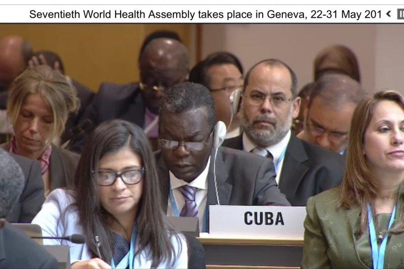 世界衛生大會(WHA)22日討論是否將「邀請台灣以觀察員身分參與世界衛生大會」列入議程,古巴代表發言反對