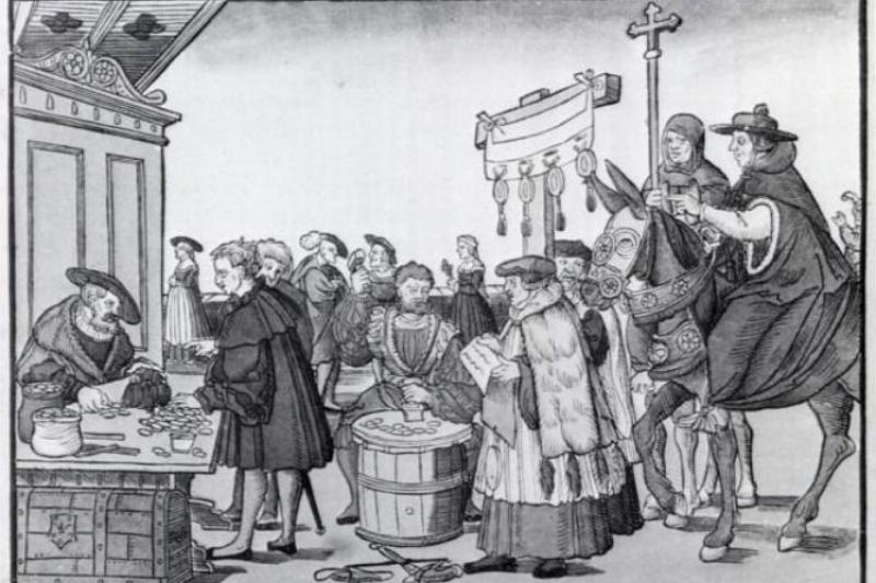 羅馬教廷販售贖罪券的版畫。(Pvasiliadis@wikipedia/public domain)