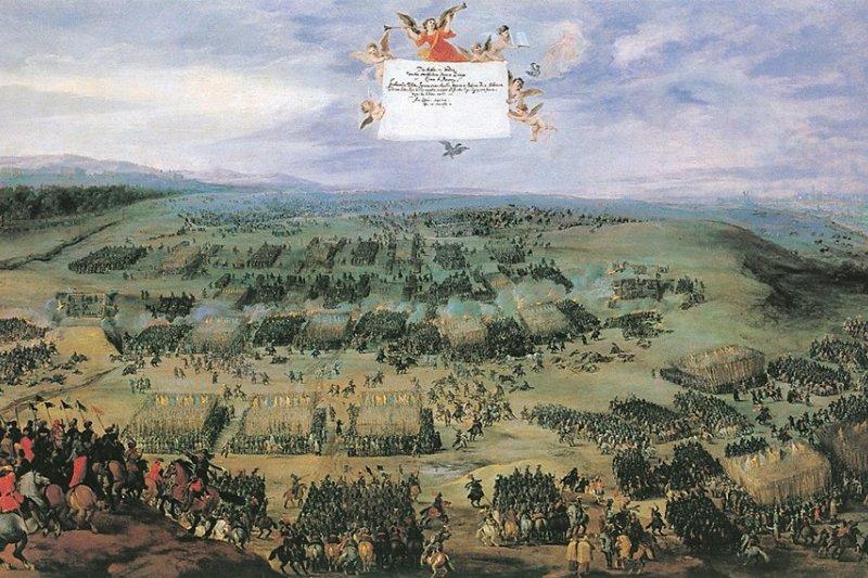 斐迪南二世聯合西班牙進攻腓特烈五世所在的普法茲地區,雙方在布拉格附近的白山交戰。(wikipedia/public domain)